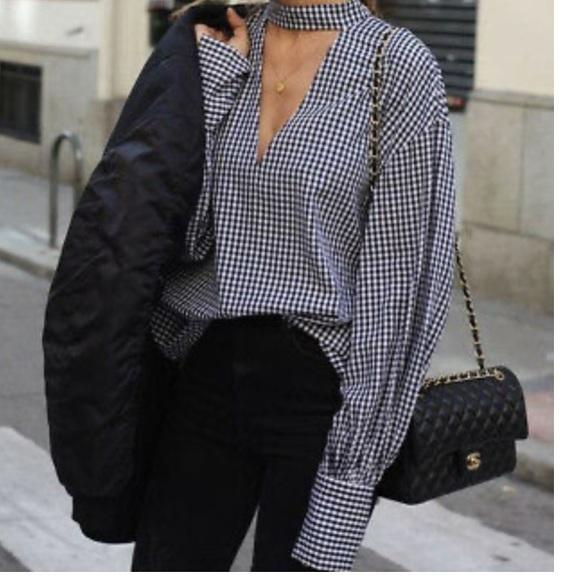 Zara gingham blouse with cut out